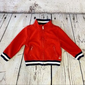 Janie and Jack Red Varsity Zip Up Sweater